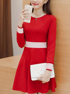 Red Fit & Flare Above Knee Plus Size Long Sleeve Dress for Casual Office Evening