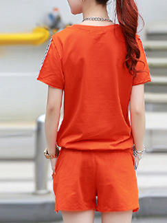 Orange Two Piece Shirt Shorts Plus Size Jumpsuit for Casual