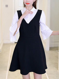 Black and White Fit & Flare Above Knee Plus Size Shirt Dress for Casual Office Evening Party