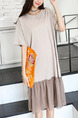 Beige Shift Knee Length Plus Size T-Shirt Dress for Casual