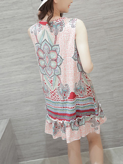 Colorful Shift Above Knee Plus Size Floral Dress for Casual Party