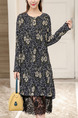 Black Shift Midi Plus Size Long Sleeve Lace Dress for Casual Office Evening