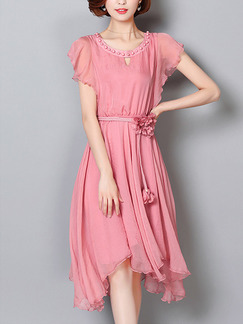 Pink Cute Shift Knee Length Plus Size Dress for Casual Party
