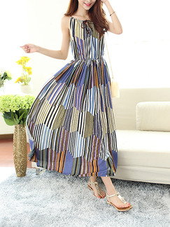Colorful Slip Midi Plus Size Dress for Casual Beach
