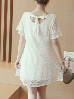 White Shift Above Knee V Neck Plus Size Lace Dress for Casual Party