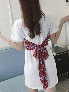White and Red Shift Above Knee Plus Size Dress for Casual Party