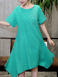 Green Shift Knee Length Plus Size Dress for Casual Party