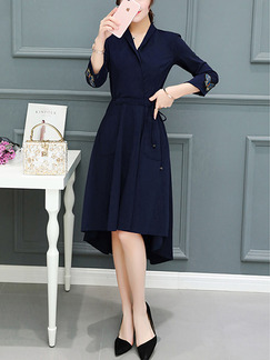 Blue Fit & Flare Knee Length Plus Size V Neck Wrap Dress for Casual Office Evening