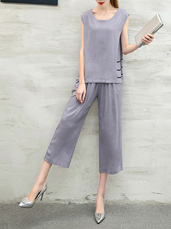 Grey Two Piece Shirt Pants Plus Size Wide Leg Jumpsuit for Casual Party Evening Office