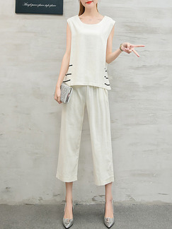 Beige Two Piece Shirt Pants Plus Size Wide Leg Jumpsuit for Casual Party Evening Office