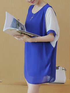 Blue and White Shift Above Knee Plus Size Dress for Casual Office Evening Party