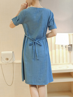 Blue Shift Knee Length Plus Size Dress for Casual Office Party