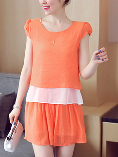 Orange Above Knee Plus Size Dress for Casual Office Party