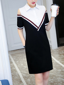 Black and White Shift Above Knee Plus Size Shirt Dress for Casual Office Evening