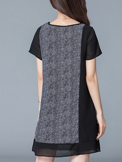 Black and Grey Shift Above Knee Plus Size Dress for Casual Office Party Evening