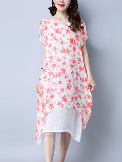 White and Red Shift Midi Plus Size Floral Dress for Casual Beach