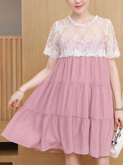 Pink and White Shift Above Knee Plus Size Cute Lace Dress for Casual Party