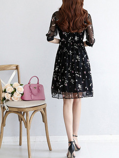 Black Fit & Flare Above Knee Plus Size Dress for Casual Office Party