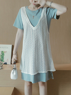 Blue and White Shift Above Knee Plus Size Lace Dress for Casual Party