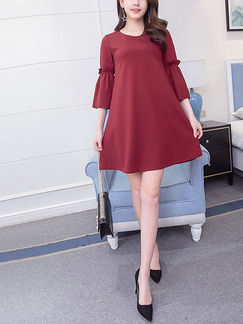 Red Shift Above Knee Plus Size Dress for Casual Office Party