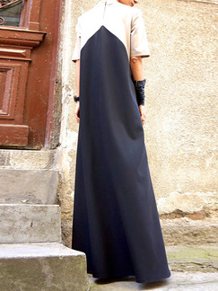 White and Black Maxi Plus Size Dress for Casual