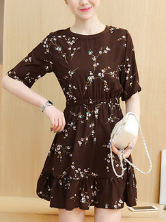 Brown Fit & Flare Above Knee Plus Size Dress for Casual Office Evening