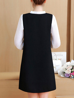 Black and White Shift Above Knee Plus Size Long Sleeve V Neck Dress for Casual Office Evening