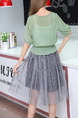 Green and Grey Fit & Flare Knee Length Plus Size Dress for Casual Office Party