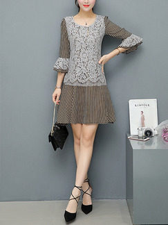 Grey and Black Shift Above Knee Plus Size Lace Dress for Casual Office Evening