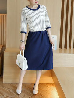 Blue and White Fit & Flare Knee Length Plus Size Dress for Casual Office Evening