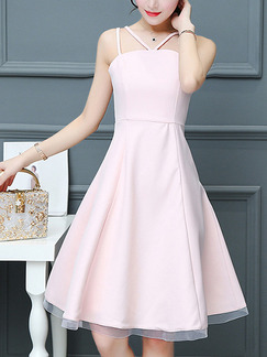 Pink Fit & Flare Above Knee Plus Size Slip Cute Dress for Casual Party Evening