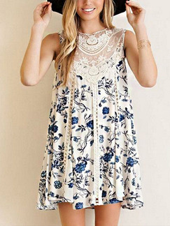 White and Blue Floral Shift Above Knee Plus Size Lace Dress for Casual Beach Party