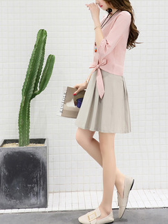 Pink and Beige Fit & Flare Above Knee Plus Size Cute Dress for Casual Office Party