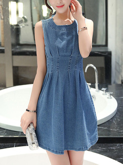 Blue Fit & Flare Above Knee Plus Size Denim Dress for Casual Party