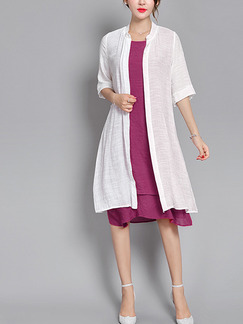 Purple and White Shift Knee Length Plus Size Dress for Casual Office Evening