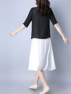 White and Black Knee Length Plus Size Dress for Casual Office Evening
