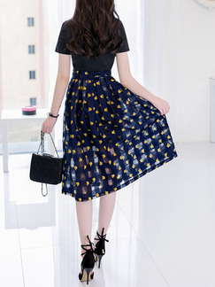 Black and Blue Yellow Knee Length Plus Size Dress for Casual Office Party