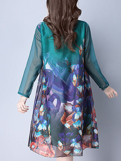 Colorful Shift Knee Length Plus Size Long Sleeve Dress for Casual Party