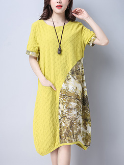 Yellow Colorful Cute Shift Midi Plus Size Dress for Casual Party