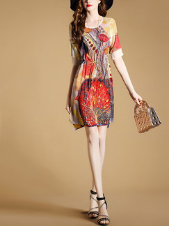 Colorful Shift Above Knee Plus Size Dress for Casual Office Evening Party