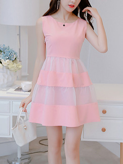 Pink Cute Fit & Flare Above Knee Plus Size Dress for Casual Party Office Evening