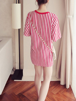 Red and White Shift Above Knee Plus Size Dress for Casual Party