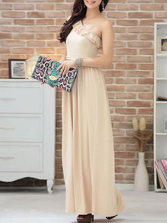 Beige Maxi One Shoulder Dress for Bridesmaid Prom