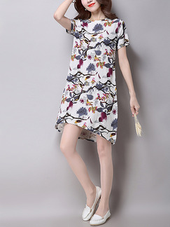 White Colorful Shift Knee Length Plus Size Dress for Casual Party