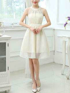 White Fit & Flare Above Knee Halter Dress for Bridesmaid Prom