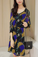 Black Blue Yellow Fit & Flare Above Knee Dress for Casual Office Party Evening