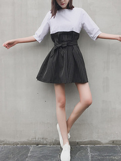 Black and White Shift Above Knee Dress for Casual Party