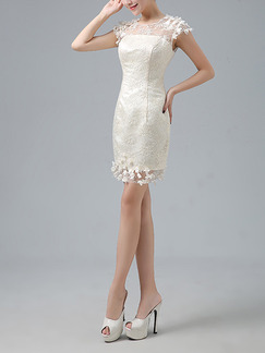 Champagne Sheath Above Knee Plus Size Lace Floral Dress for Bridesmaid Prom
