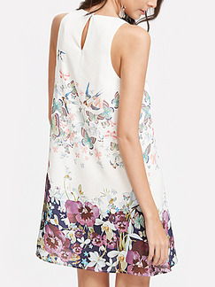White Colorful Shift Above Knee Floral Dress for Casual Party