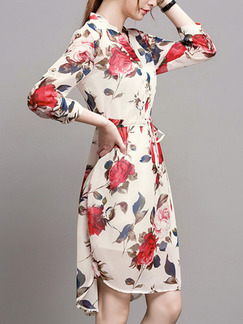Beige Red Colorful Fit & Flare Knee Length Plus Size Floral V Neck Dress for Casual Office Evening